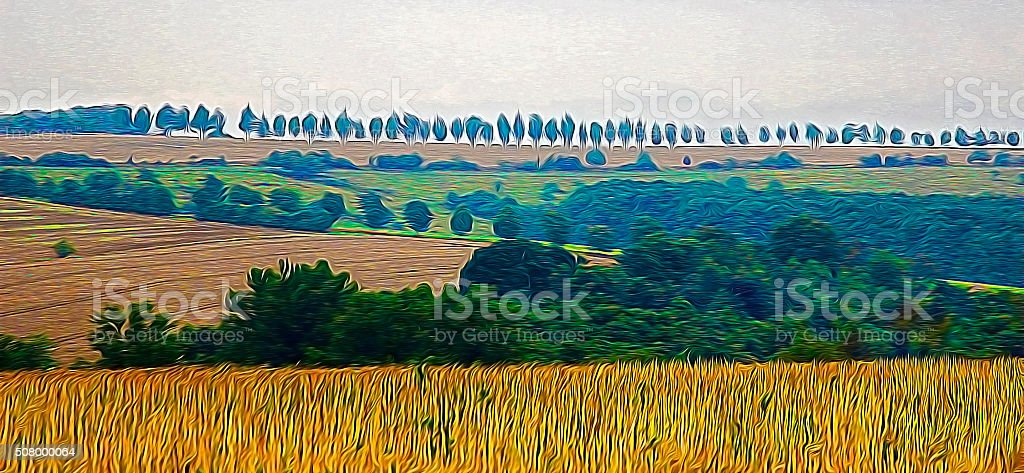 Fields with protective woodland belts in impressionist oil painting style stock photo