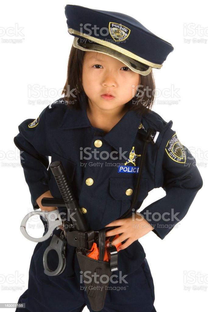 Fierce little girl police officer royalty-free stock photo