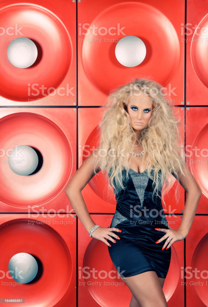 Fierce model on red background royalty-free stock photo