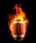 Fiery amrican football ball on fire