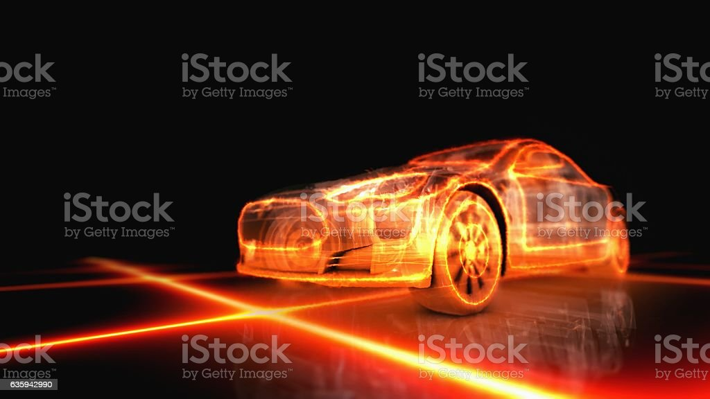 fiery appearance of the machine stock photo