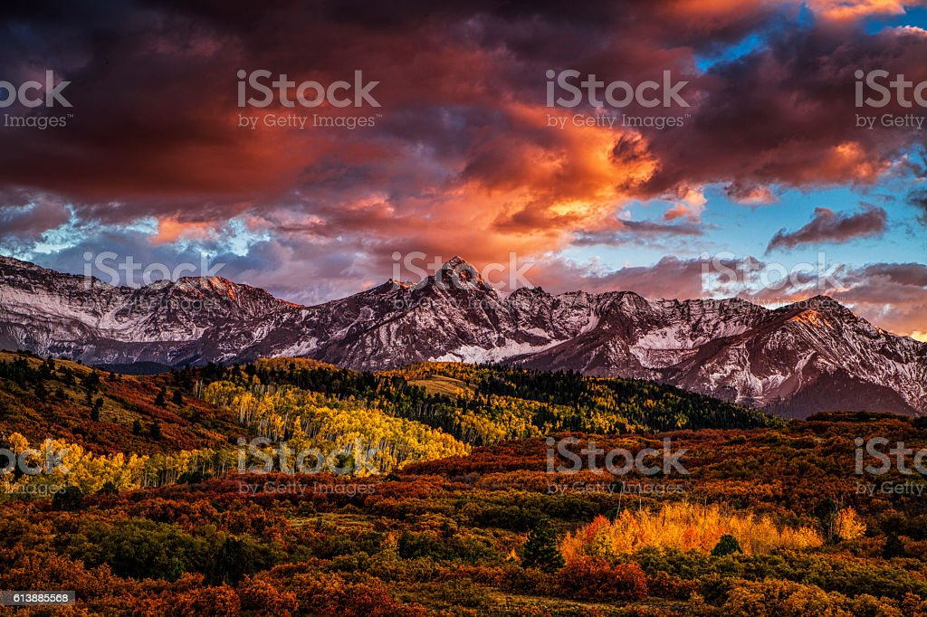 Fiery Autumn Sunset stock photo