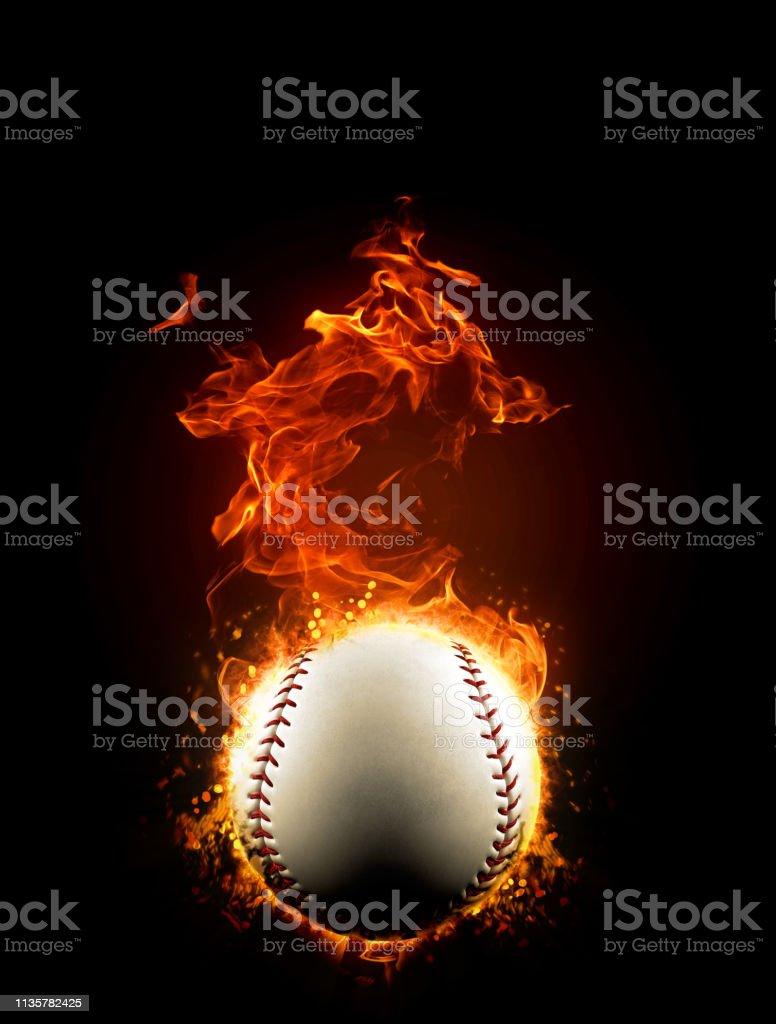 Fiery baseball ball on fire, burning in the dark