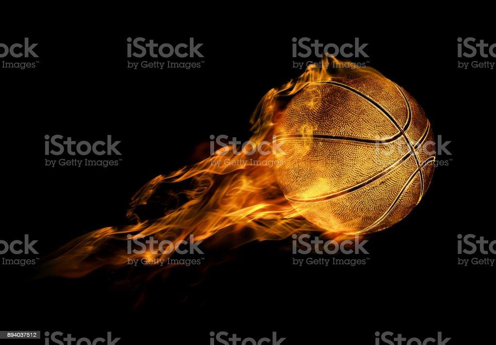 fiery basketball ball stock photo