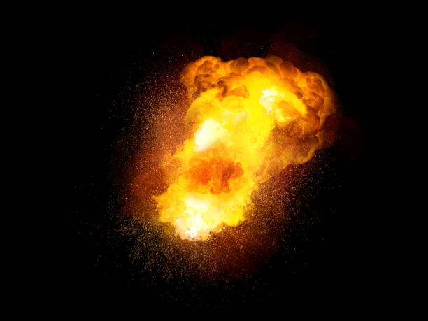 Fiery bomb explosion, orange color with sparks and smoke isolated on black background stock photo