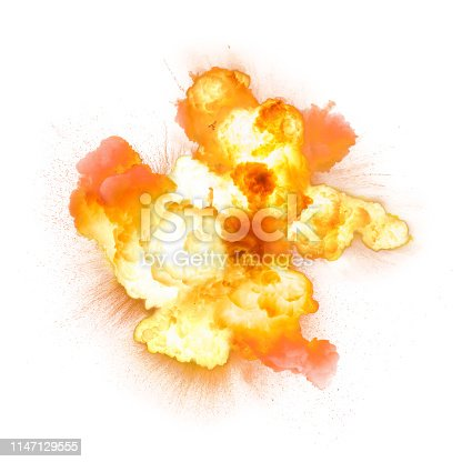 Realistic fiery bomb explosion with sparks and smoke isolated on white background