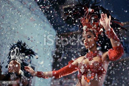 Shot of two beautiful samba dancers performing in a carnival
