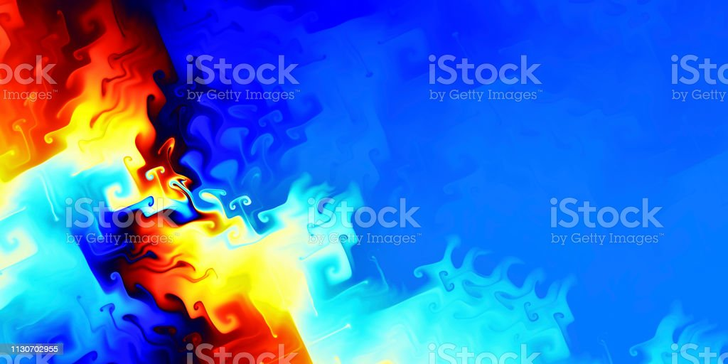 Fiery fractal background panorama with copy space stock photo