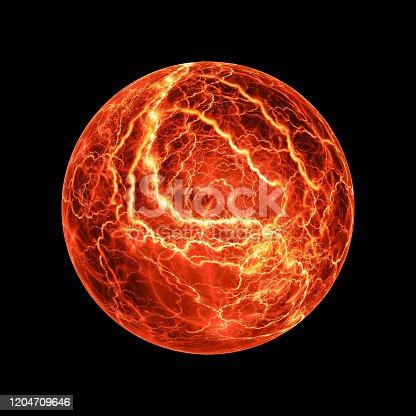 657546096 istock photo Fiery glowing ball lightning effect isolated on black 1204709646