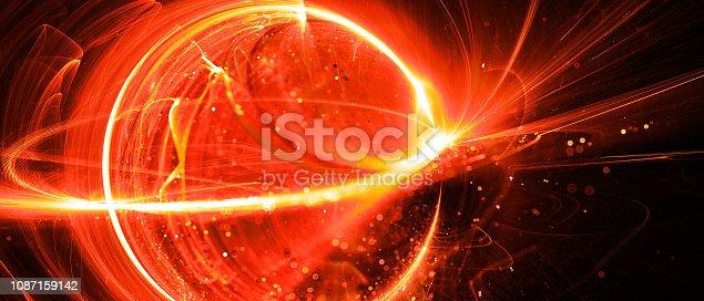 istock Fiery glowing interstellar technology in space 1087159142