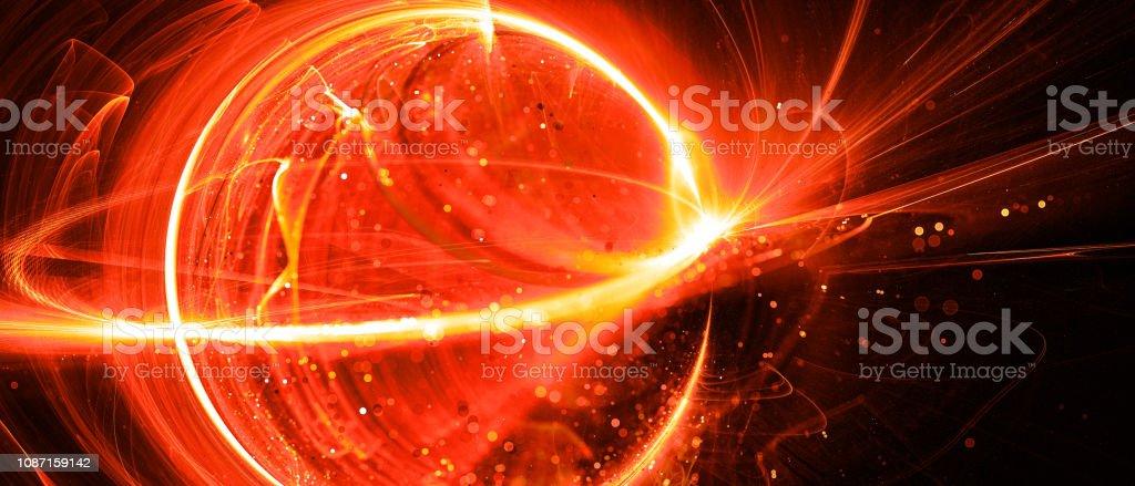 Fiery glowing interstellar technology in space stock photo
