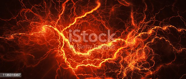 Fiery glowing lightning, computer generated abstract background
