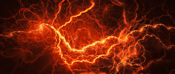 Fiery glowing lightning Fiery glowing lightning, computer generated abstract background shooting a weapon stock pictures, royalty-free photos & images