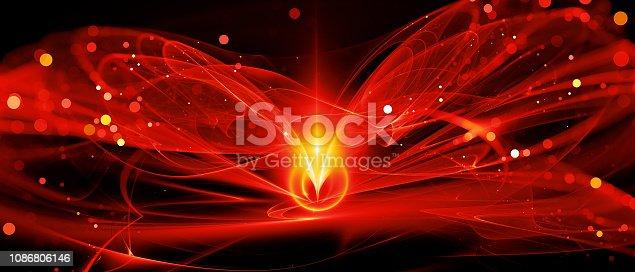 istock Fiery glowing new technology in deep space 1086806146