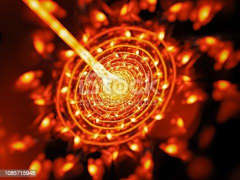 istock Fiery glowing quantum weapon beam hit target 1085715948