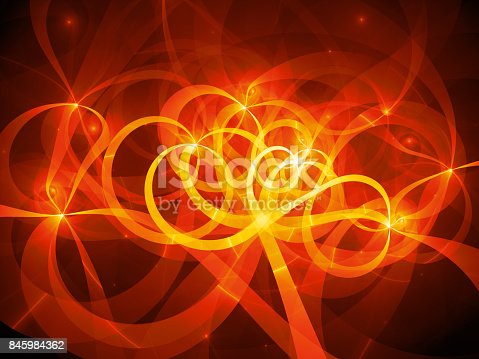 istock Fiery glowing spaghetti curves in space 845984362