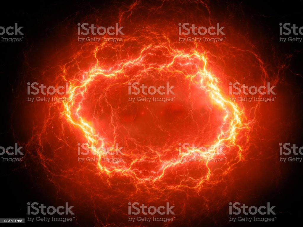 Brillante ardiente rayo de plasma de alta energía esférica en el espacio - foto de stock