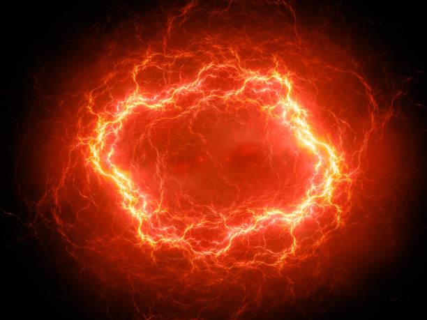 Fiery glowing spherical high energy plasma lightning in space stock photo