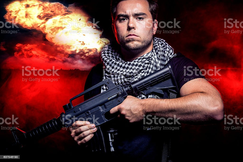 Fiery Nuclear Warzone stock photo
