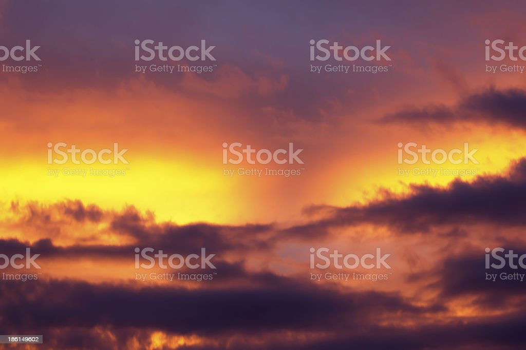 Fiery orange sunset sky. Beautiful royalty-free stock photo