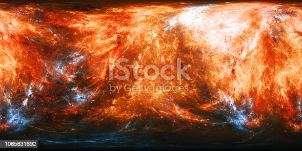 istock Fiery planet texture with blue energy bursts panorama map 1065831692