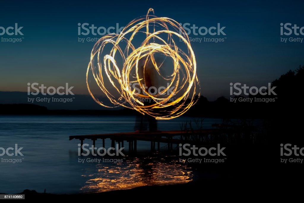 Fiery poi stock photo