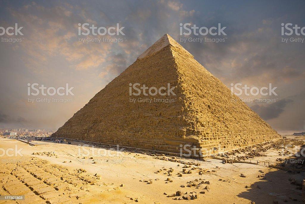 Fiery Sky Giza Pyramid Egypt royalty-free stock photo
