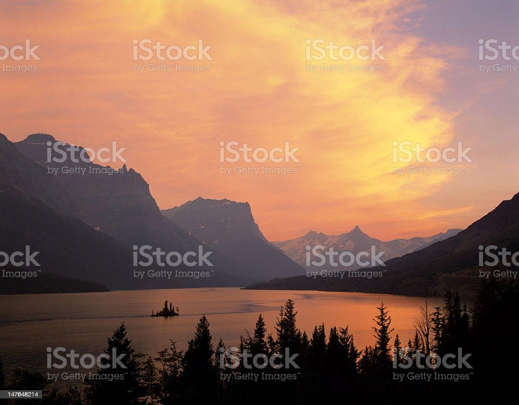 Fiery sky over St. Mary Lake royalty-free stock photo