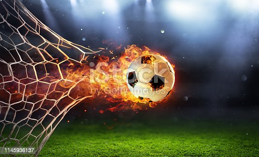Soccer Ball In Flames In The Net