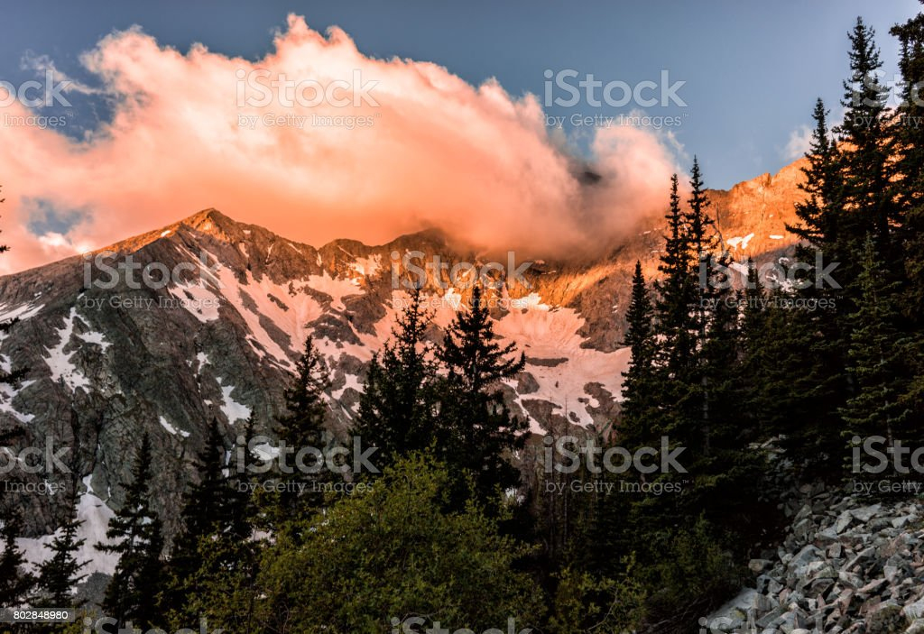 Fiery Sunrise, Colorado Rocky Mountains.  Blanca Peak, Sangre de Cristo stock photo