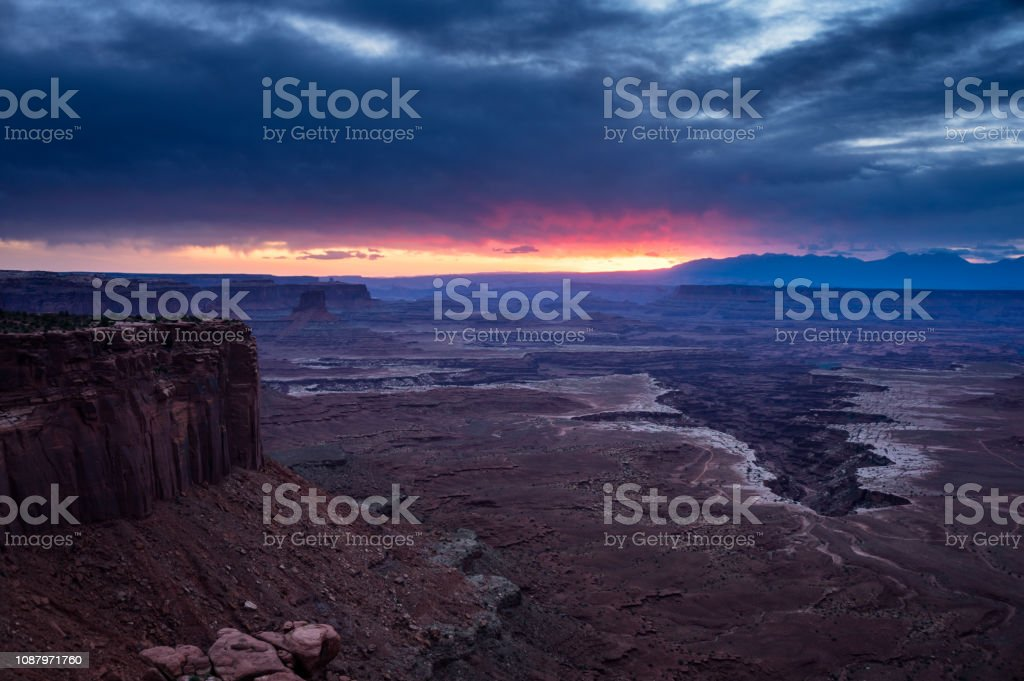 Fiery Sunrise in Canyonlands National Park stock photo