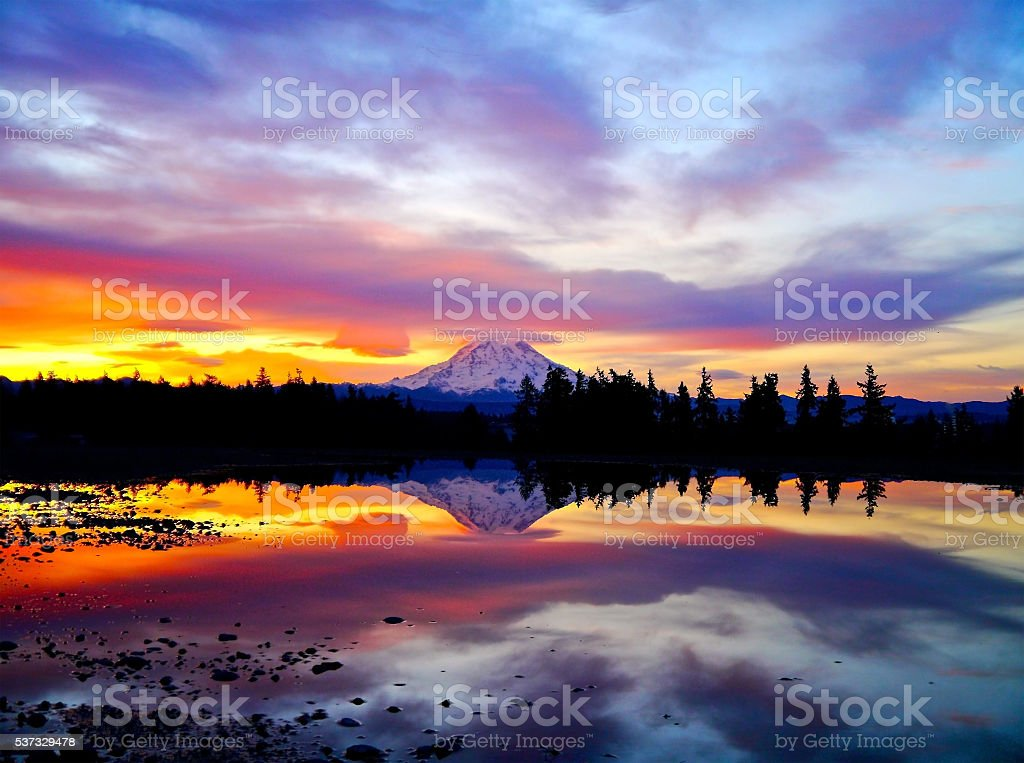 Fiery Sunrise Over Mt. Rainier stock photo