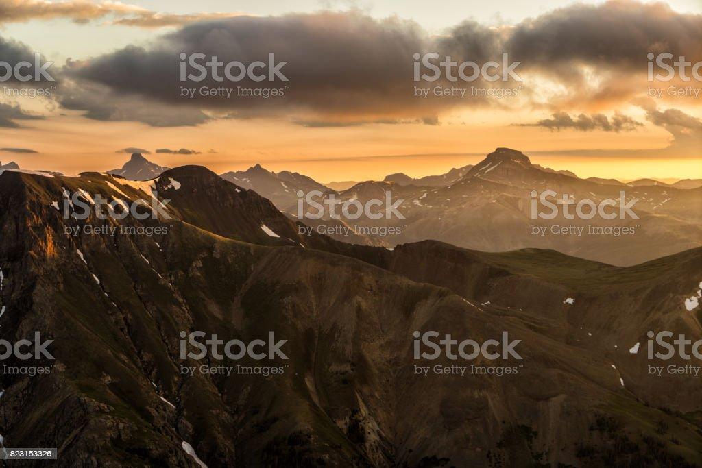 Fiery Sunrise over the San Juan Range.  Colorado Rocky Mountains stock photo