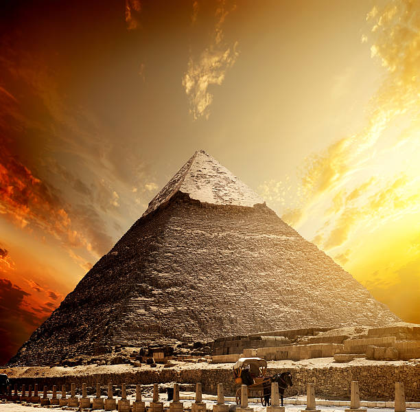 Fiery sunset and pyramid