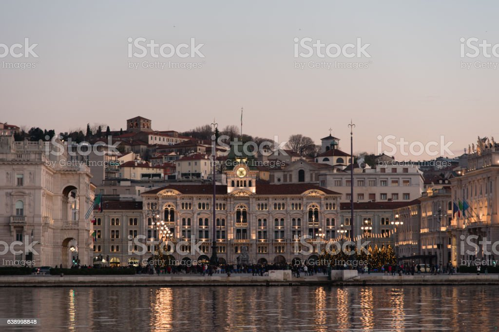 fiery sunset in the Gulf of Trieste, Adriatic Sea stock photo