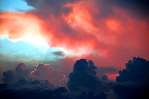 Fiery sunset stock photo