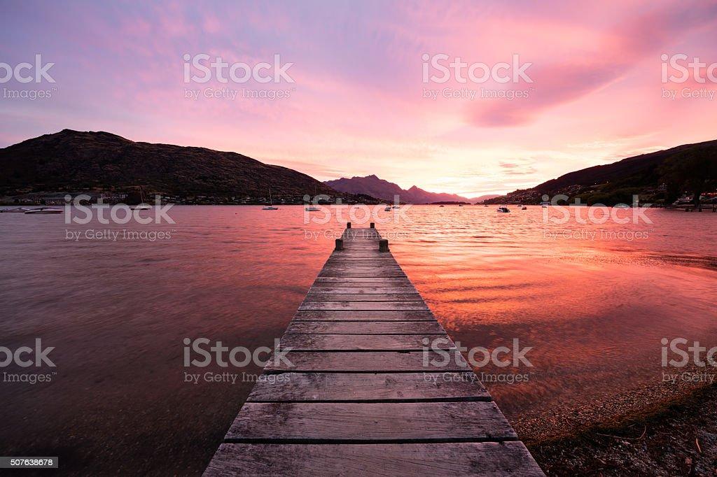 Fiery Sunset, Queenstown, New Zealand stock photo