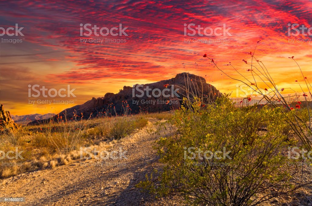 Fiery Terlingua Sunset stock photo