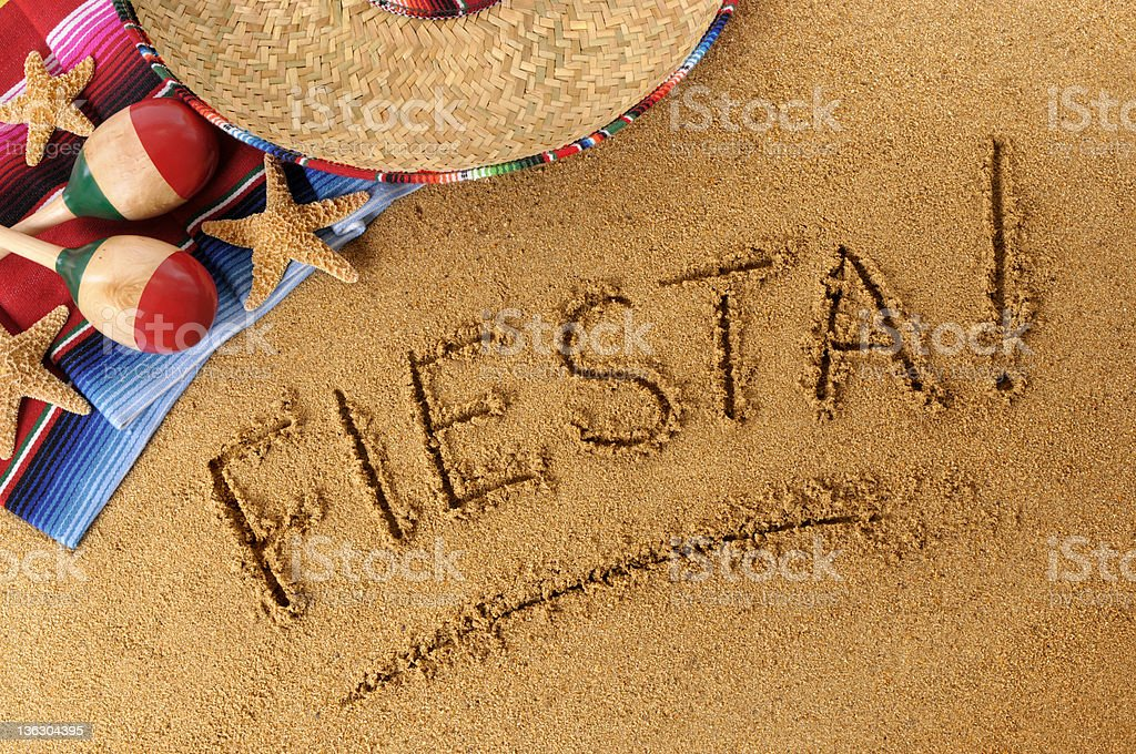 Fiesta beach writing royalty-free stock photo
