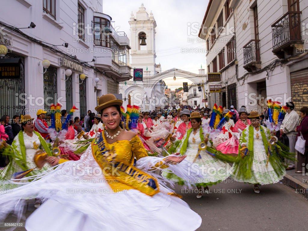 Fiesta de la Virgen Guadalupe in Sucre stock photo
