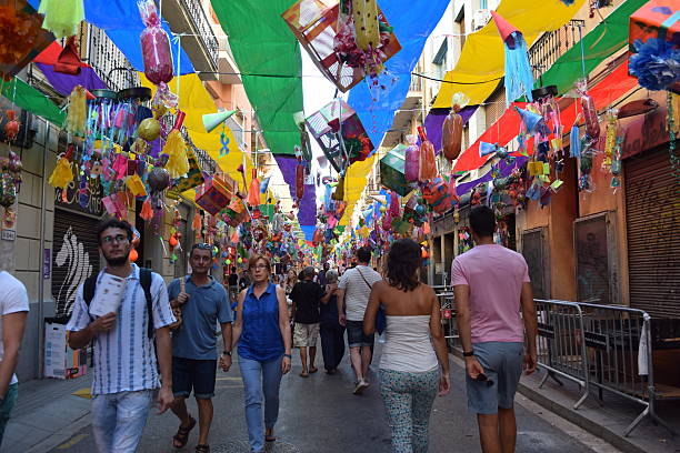Fiesta Mayor de Gracia, Barcelona Barcelona, Spain - August 15, 2016: Fiesta Mayor de Gracia. The neighbours of Gràcia quarter in Barcelona decorate the streets for the festival of Festa Major.  gracia baur stock pictures, royalty-free photos & images