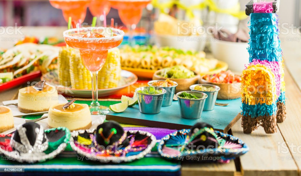 Fiesta party buffet stock photo