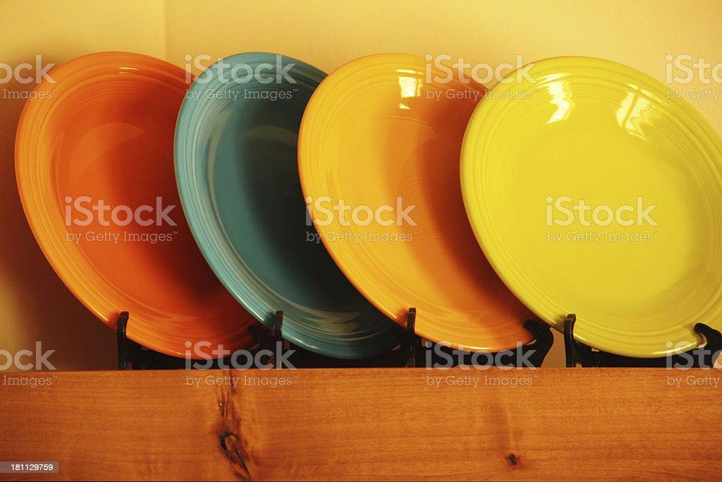 Fiesta Plates Dishes Kitchen Shelf royalty-free stock photo