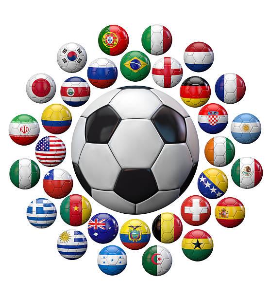 fifa world cup brasilien 2014-teams - fußball poster stock-fotos und bilder
