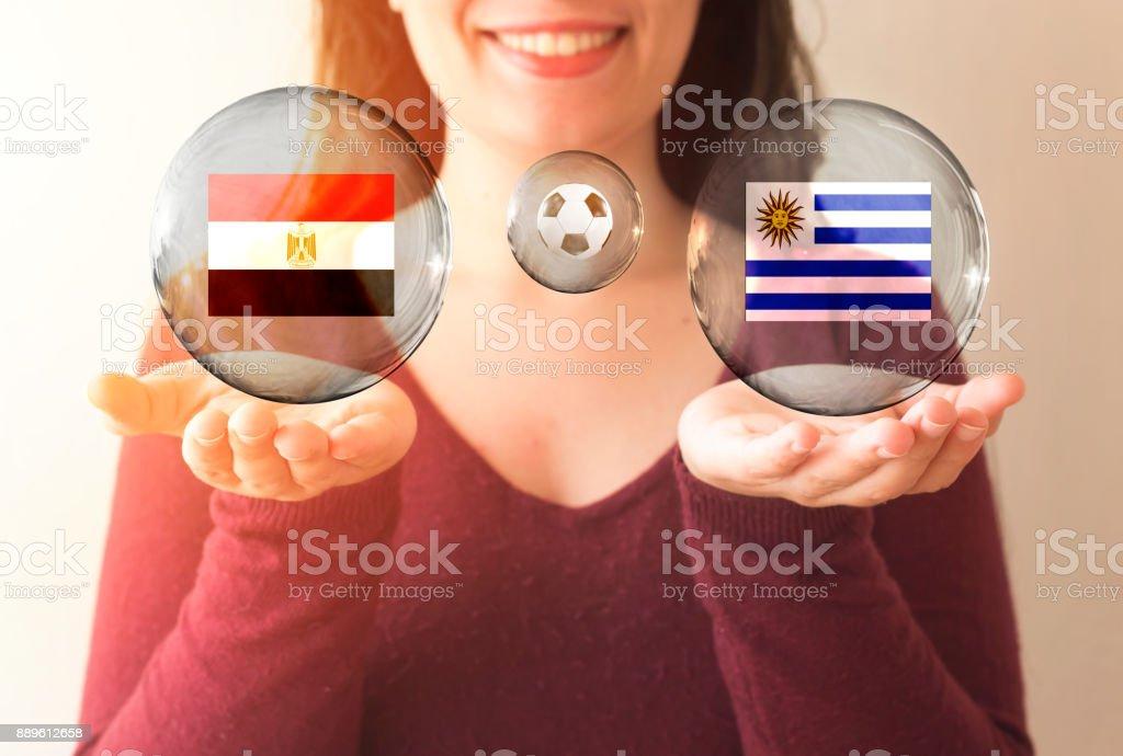 conceito de Copa do Mundo FIFA, Egito vs Uruguai - foto de acervo