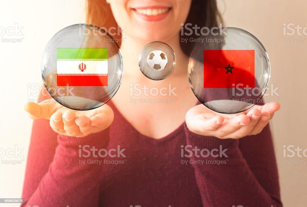 conceito de Copa do Mundo FIFA, Marrocos vs de Irã - foto de acervo