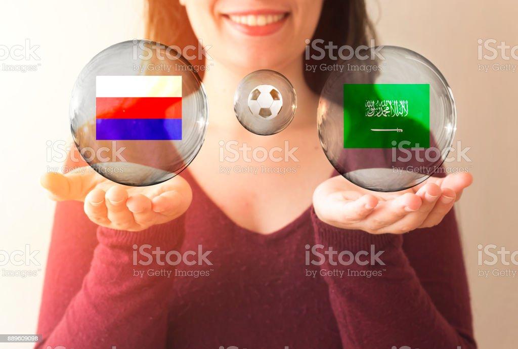 conceito de Copa do Mundo FIFA, Arábia Saudita vs Rússia - foto de acervo