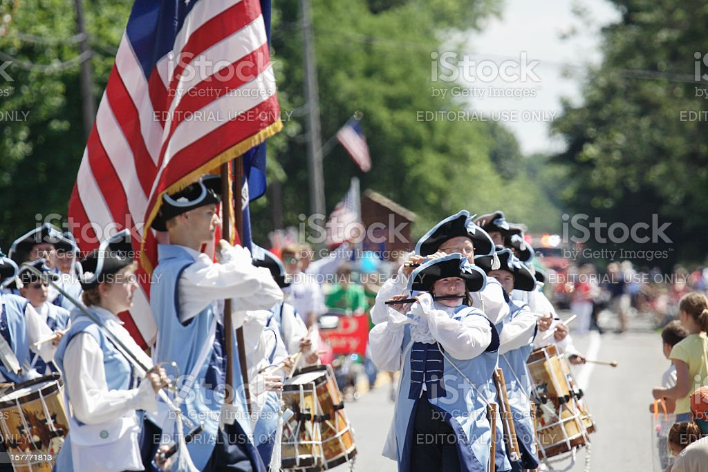 Fife and Drum Corps Marching in July 4th Parade stock photo