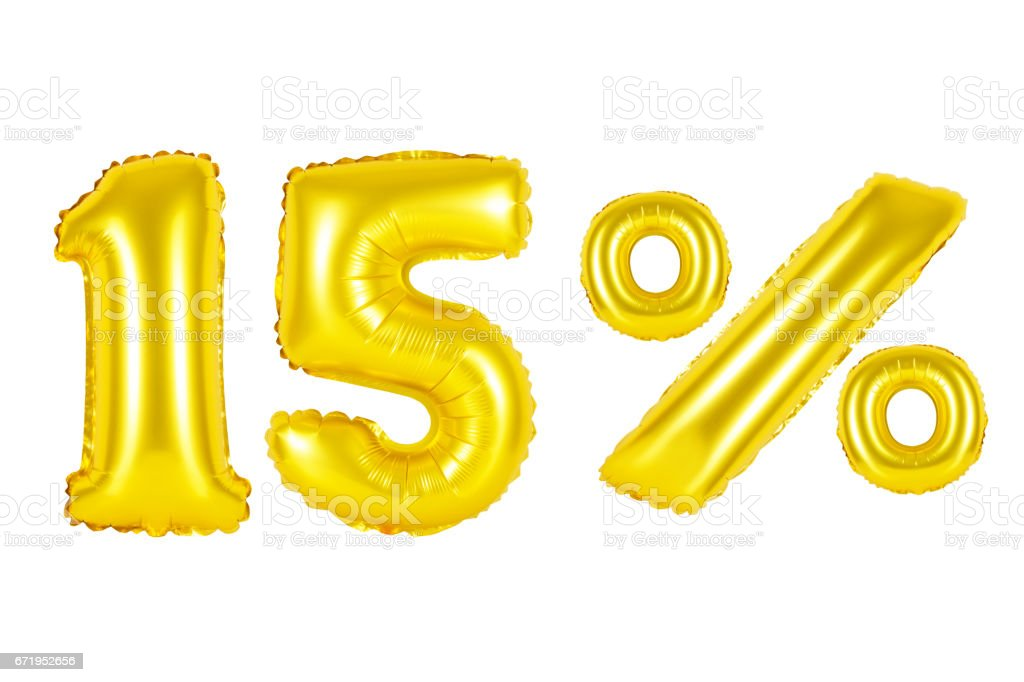 fifteen 15 percent from golden balloons stock photo