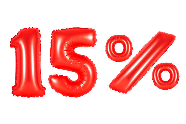 fifteen 15 percent from red balloons stock photo